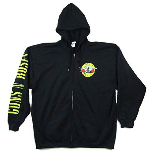 (Guns N Roses Bullet 85 Skull Black Zip Up Sweatshirt (2X))