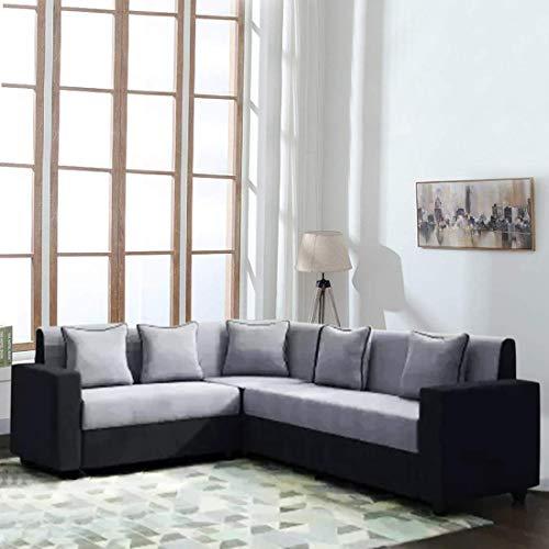 Woodcasa   6 Seater Livingster Fabric Corner Sofa Set  Grey Black