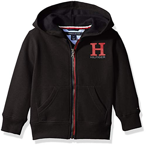Tommy Hilfiger Big Boys' Long Sleeve Matt Logo Zip up Hoodie, Black, M 12/14 from Tommy Hilfiger