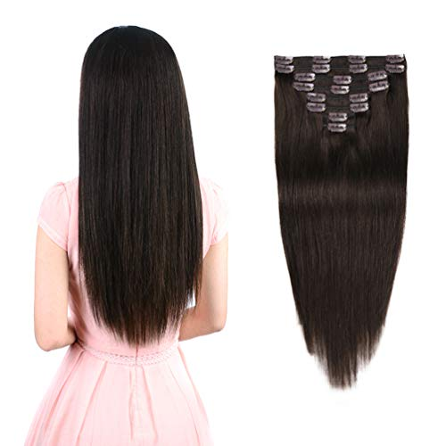 Real Clip in Hair Extensions Dark Brown 8 Pieces - Premium Womens Straight Double Weft Thick Remy Hair Extensions Clip in on Human Hair for Long Hair (20