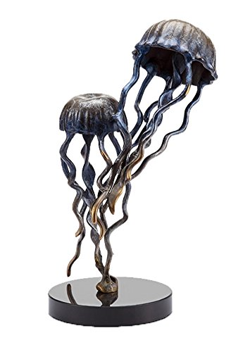 (Jellyfish Pair Brass Statue on Marble Base)