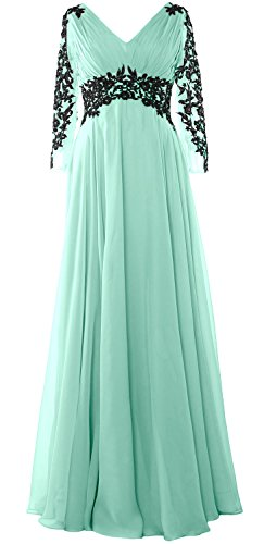 Gown Long Dress Sleeve MACloth Wedding Evening of Aqua Party Mother Formal Bride vqOHxOf