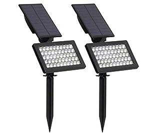 zmdx 2 Pack Solar Lamp Outdoor Adjustable 50 LEDs Solar Light Led Garden Ip44 Waterproof Wall Lighting for Garden/Lawn