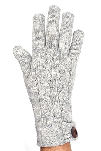 LL Adults Gray Cable Knit Lined Gloves with Wood Button Accent