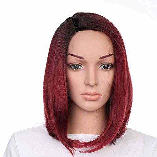 HOT Sale!!! 2019 Ladies Long Straight Synthetic Wigs Wine Red Lace Front with Side Parting Heat Resistant Fiber Wig for Cosplay,Party&Daily Use Costume -