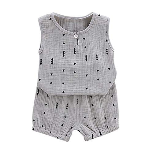 Baby Sports Outfit Infant Kids Boys Girls Summer Geometric Printed Sleveeless Vest Tops Baggy Shorts for 0-4 Years
