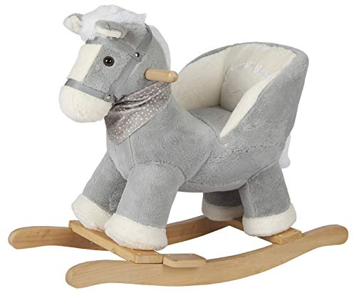 ROCK MY BABY Gray Horse with Chair,Plush Stuffed Rocking Animals,Wooden Rocking Toy Horse/Baby Rocker/Animal Ride on,Home Decor,for Girls and Boys,(Gray -