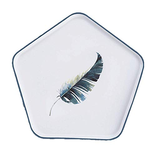 Feather Creative Pentagonal Ceramic Plate Cute Flower Pattern White Black Edge Tray Steak Soup Bread Dish Cake Dessert Fruit Sushi Snack Noodle Candy Plate Smooth Surface Gift Friend Kid Family Chef Bracelet White Salad Plate