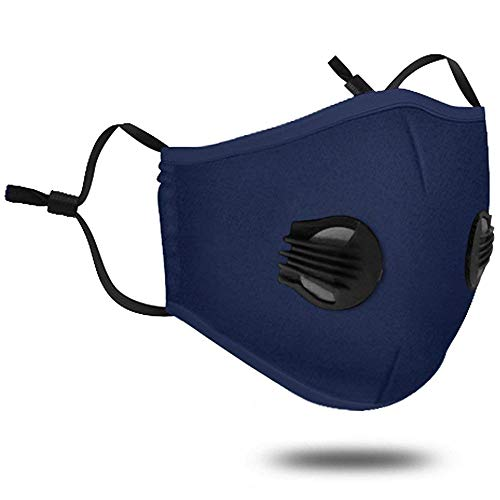Pollution Mask with Valve Washable Dust Respirator Cotton Mouth Masks with Replaceable 5 Layer Filter for Men Women (Mask + 2 Filters + 2 Valve) (Navy blue)