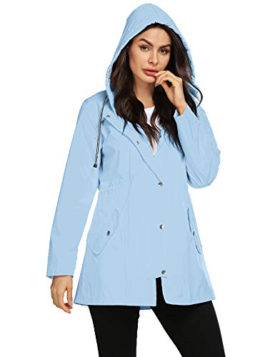 Avoogue Rain Jacket Women Striped Lined Hooded Lightweight Raincoat Outdoor Waterproof Windbreaker Sky Blue M