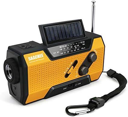 Saachee Solar Radio: Hand Crank Portable Radio, NOAA Weather Radio for Household and Outdoor Emergency with AM/FM, LED Flashlight, Reading Lamp, 2000mAh Power Bank USB Charger and SOS Siren/Flashing! 415Ll5YBnRL
