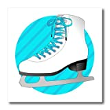 3dRose ht_77472_1 Figure Skating Gifts-Blue Ice Skate on Stripes-Iron on Heat Transfer for White Material, 8 by 8-Inch