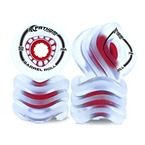 Fathom by Shark Wheel Barrel Roll 60MM 4 Piece Skateboard Wheels, Clear and Red