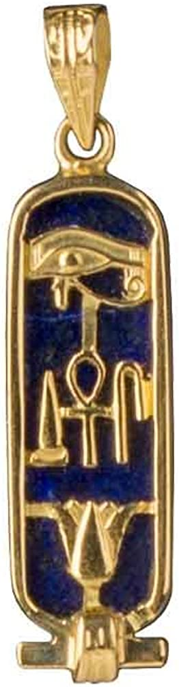 Discoveries Egyptian Imports - Handmade Health, Life and Happiness Cartouche Pendant - Available in 14K Gold, 18K Gold, Gemstone and Sterling Silver - Hieroglyphic Symbols - Made in Egypt