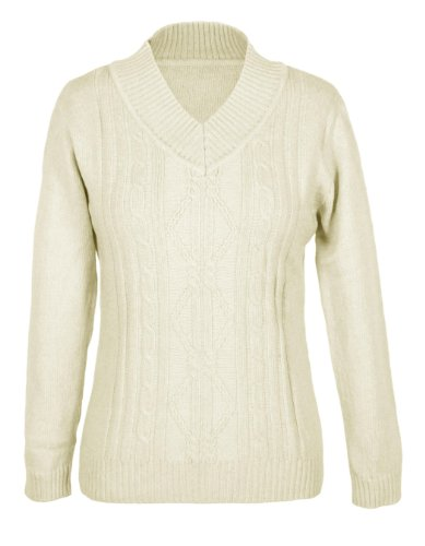 G2 Chic Women's Diamond Cable Knit V-Neck Sweater(TOP-SWT,WHT-SMALL)