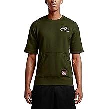 Nike Men's Air Tech Crew Sweatshirt Fleece Cargo (Large) (Cargo Khaki Green)