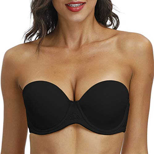 YANDW Women Supportive Strapless Tshirt Bra Underwire Multiway Full Figure Ligthly Padded with Clear Straps for Wedding Black, 34DD