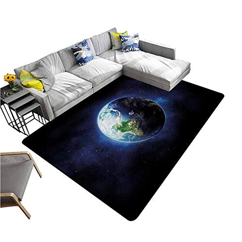 Long Kitchen Mat Bath Carpet World,Starry Outer Space View with Planet Earth Calm Silent Universe Galaxy,Dark Blue Green White 80