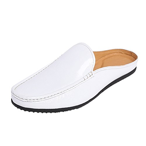 Santimon+Mules+Clog+Slippers+Men+Fashion+Patent+Leather+Slip+on+Shoes+Casual+Loafers+White+10+D%28M%29+US