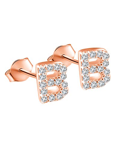 Price comparison product image 14K Rose Gold Plated Sterling Silver CZ Initial Letter B Stud Earrings