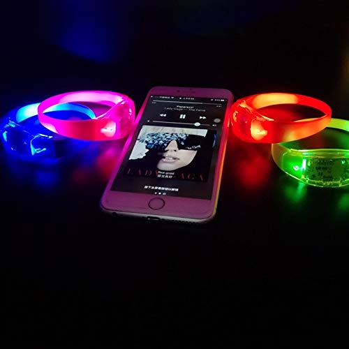 Light Up Bracelets LED Light Up Bracelets Glow Wristbands Assorted Colors Set of 4 for Concerts, Festivals, Sports, Parties, Night Events by Aquatx