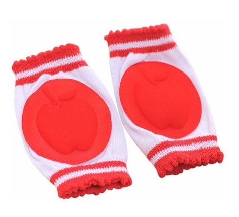 Infant Toddler Baby Knee Pad Crawling Safety Protector,Striped apple(Red) (2)