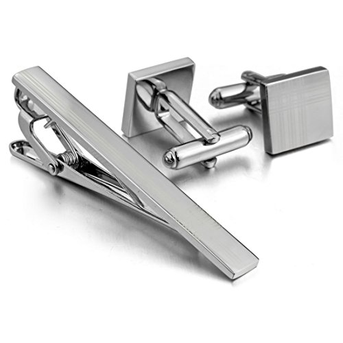 Mens Rhodium Plated Cufflinks Necktie