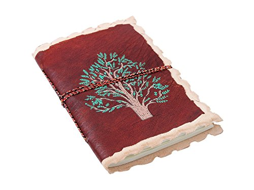 Diwali Gifts Leather Blank Journal Personal Diary Composition Notebook Travel Record Book Sketchbook Unlined 48 Pages Tree of Life Motif Office Paper Supplies 7 X 5 Inches