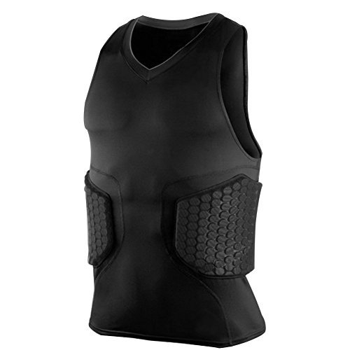 (Zicac Men's Sports Shock Rash Guard Compression Padded Protective Shirt Soccer Basketball Training Vest (Black, S(Asia Tag M)))