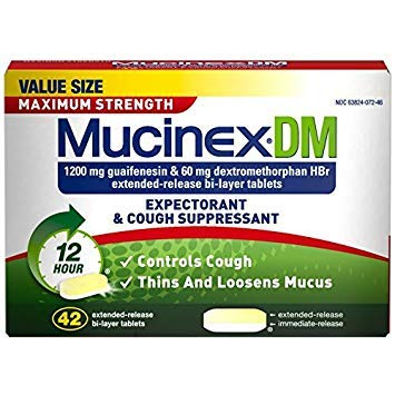 Mucinex DM Maximum Strength 12-Hour Expectorant and Cough Suppressant Tablets, 42 ct (Pack of 3)