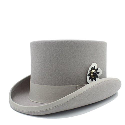 Para Steampunk Mujeres Fedora Flor 3 sombrero Color Con Top Yajie Hat Lana Las 4 De Cuero Mecánica IqZRHwz