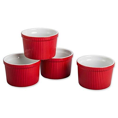 BIA Cordon Bleu (Set of 4) - 12 oz. Porcelain Ramekins Bowls 12 ounce (Red)