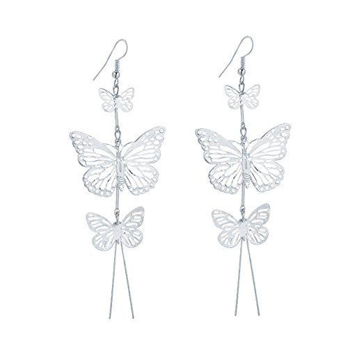 - IDB Delicate Filigree Dangle Triple Butterfly Drop Hook Earrings - Available in Silver and Gold Tones (Silver Tone)