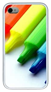 Colorful Markers TPU White Case for iphone 4S/4