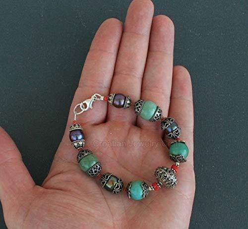 Mediterranean Red Coral Bracelet, Turquoise Bracelet, Dubrovnik Filigree Ball Bracelet, Black Pearl Bracelet *Exp Shipping