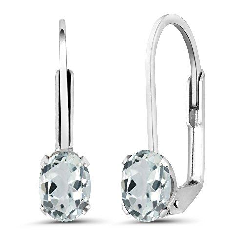 Aquamarine Dangling Earrings (0.86 Ct Oval Sky Blue Aquamarine 925 Sterling Silver Women's Earrings)