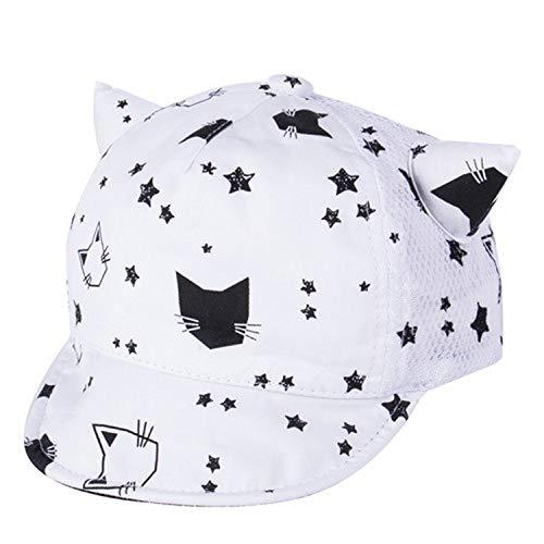 子野球帽 春秋冬帽子 幼児 赤ちゃん かわいい猫の耳 子供綿の帽子,ブラック,M