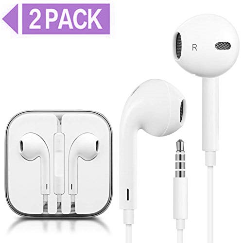 buyfitcase Earphones/Earbuds/Headphones Stereo Mic Remote Control Compatible with iPhone 6s/6 plus/6/5s/5c/iPad iPod (White)(2Pack) 1