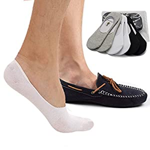 No Show Socks 8BESS GIFT Mens Socks Low Cut Non-Slip Grips (Pack of 6) (L, Mixed color (2black+2white+2grey))