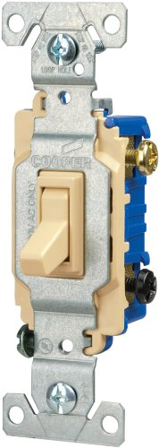 Eaton 1303-7V-BOX 15-Amp 120-volt Standard Grade 3-Way Toggle Switch with Push and Side Wiring, Non-Grounding, (3wy Toggle)