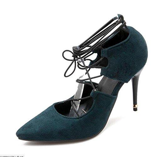 Femmes Automne Fashion Bandage en cuir suédé Véritable Pointu Chaussures à talons hauts , green , 38