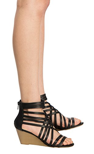 Wedge Sexy K Sandals Woven Women's Casual Strappy Open Comfort Style Toe Black Fasionable OLIVIA Heel dnIYSwqq