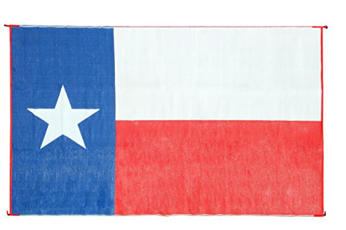 Camco Large Reversible Outdoor Patio Mat - Mold and Mildew Resistant, Easy to Clean, Perfect for Picnics, Cookouts, Camping, and The Beach (9' x 12', Texas Flag Design) (42860)