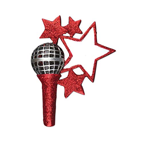 Personalized Microphone Christmas Tree Ornament 2019 - Red Glitter Star Sing Record You-Tuber Interview News Student Teacher Love Music Holiday Tradition Karaoke Grand-Kid Year - Free Customization