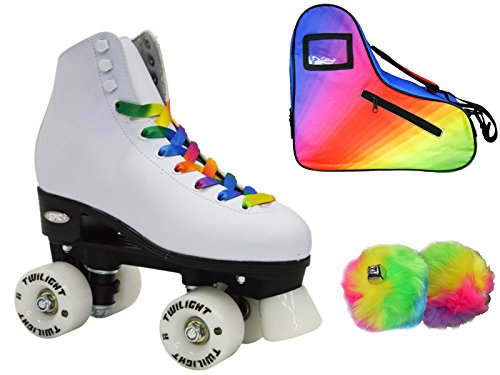 Epic Allure Twilight Rainbow LED Light Up High-Top Quad Roller Skate 3 Piece Bundle (Adult 10) -