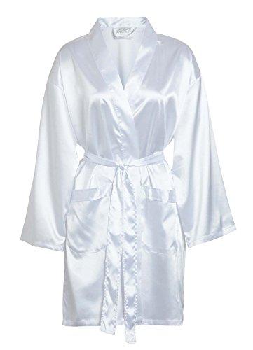 TowelRobes Women's Kimono Satin Robe Satin Lounge Bridesmaids Short Robe White Small/ Medium