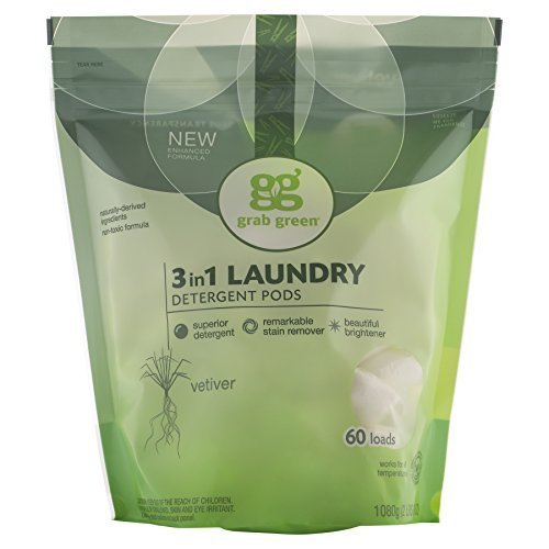 Grab Green 3-in-1 Laundry Detergents Vetiver Pre-Measured Concentrated Powder Pods 60 Loads (a) - 2PC - 3PC by Grab Green