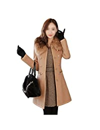 SODIAL(R) Sexy Women Slim Wool Faux Fur Trench Parka Double-Breasted Winter Coat Jacket Camel Size XL