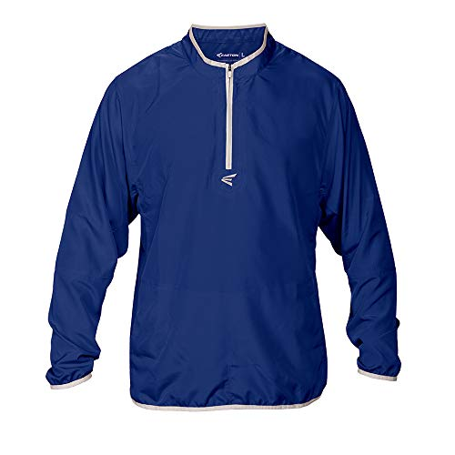 EASTON M5 CAGE Long Sleeve Jacket | 2020 | Lightweight, Mobility Breathable Design For Game Day | Practice | Off Field Use | Baseball | Elastic Bound Hem + Neck + Cuffs | Customizable w/ Decorations, Adult, Royal, X-Large