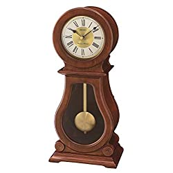 SEIKO Rounded Wood Finish Mantle Pendulum Clock with Chime, Brown